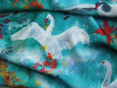 New Design Long Silk shiny Scarf leaves blue water , Swans Birds Elegant Women Gifts Neck Scarf, 2013 Neck Scarves, Elegant Woman, Paintings For Sale, News Design, Gifts For Women, Swans, Illustration Art, Silk, Unique Jewelry