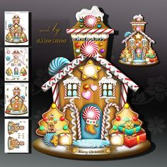 Gingerbread House for Kids Card Kit on Craftsuprint designed by Atlic Snezana - Gingerbread House for Kids Card Kit: 4 sheets for print with decoupage for 3D effect plus few sentiment tags (for your own personal text) - Now available for download!