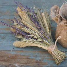 wedding cake rustic wheat and lavender - Google Search