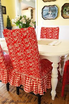 Red Toile and checks slipcovered dining room chairs #cottagestyle