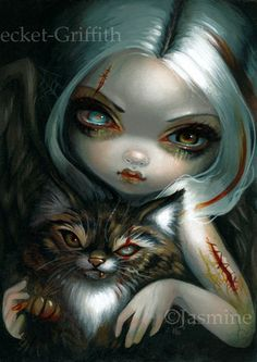 """""""Zombie Kitty"""" - original acrylic painting up for auction here:  http://www.ebay.com/itm/401104540716 prints & limited edition canvases from $9.99 here:  http://www.strangeling.com/shop/fine-art-prints/zombie-kitty/ - we ship worldwide."""
