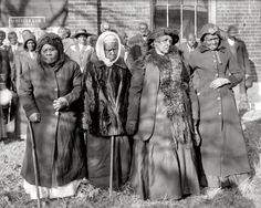 "Washington, D.C., 1916. ""Convention of former slaves. Annie Parram, age 104; Anna Angales, age 105; Elizabeth Berkeley, 125; Sadie Thompson, 110."""