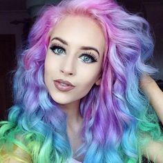 Rainbow Pastel Hair Is A New Trend Among Women ❤ liked on Polyvore featuring hair and backgrounds