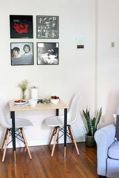 This small dining table only took a day to build, it cost under $75 to make, and it fits perfectly in my tiny apartment living space. #Curbly-Original, #How-To, #breakfast-nook, #Nook, #sponsored #smalllivingrooms