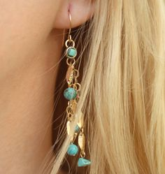 Natural Turquoise Long Gold Dangle Chain Earings, Genuine Gemstone Statement Earing, Boho Chick Earing, December Birthstone Earing for her