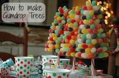 How to make Gumdrop Trees for Christmas Kiddie Breakfast :: Instructions on HoosierHomemade.com