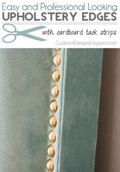 DIY headboard tutorial with individual brass nails and easy professional looking edges