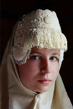 Traditional headdress of a young married woman from Kargopol Province, Russia…