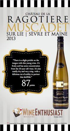 Domaine de La #Ragotiere Muscadet Sur Lie Sevre et Maine 2013 - Wine Enthusiast