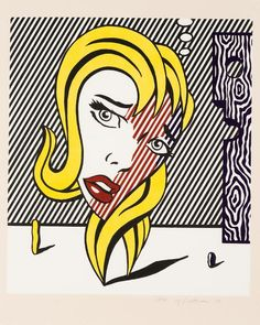 "Roy Lichtenstein Poster /"" Girl with Hair Ribbon /"" Guggenheim Museum 1993 in Mint"