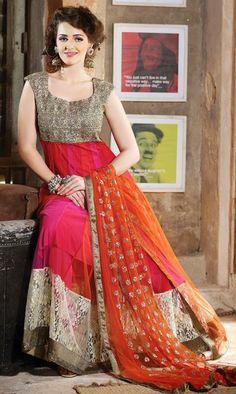 Multi Color Net Anarkali Salwar Suit 26054
