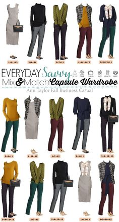 This Classy Ann Taylor business casual capsule wardrobe will have you looking great at work. It includes some pops of color and fun patterns. Includes heels and flats. Fun Clothes for the office/ work attire.