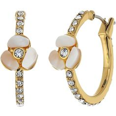Kate Spade New York Special Occasion Pave Hoops (Cream Multi) Earring ($53) ❤ liked on Polyvore featuring jewelry, earrings, sparkly earrings, pave earrings, special occasion earrings, pave hoop earrings and kate spade