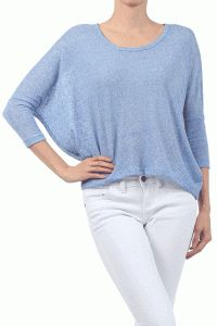 Softer Side Of Open Back ¾ Dolman Sleeve Knit Top In Baby Blue