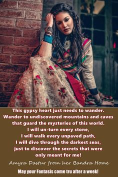 Fantasy News - Amyra Dastur - Sitting at home like the whole world.and dreaming about exploring the whole world one day! Fantasy News, News 5, First World, Exploring, The Darkest, Gypsy, Fashion, Moda, Fashion Styles