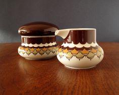Rosenthal Thomas sugar bowl and creamer set, from the 1970s Kiruna line in Artichoke decor, retro by VintagemitSahne on Etsy