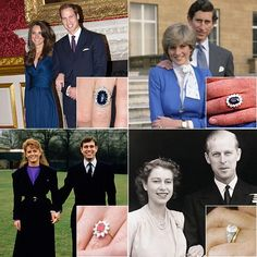 British Royal rings - Prince William and Kate Middleton; Prince Charles and Lady Diana Spencer; Prince Andrew and Sarah Ferguson and Prince Philip and Princess Elizabeth.