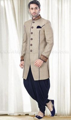 Mens wear, asian wedding wear, groom sherwani, cream indo western, designer sherwani, marriage sherwani, indian wedding wear, heavy sherwani, elegant wedding www.statusindiafashion.com