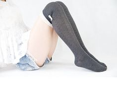 Sweet Socks for Flats Dark Gray Lace Socks for Heels Boot Socks With Lace Trim & Bowknot High Thigh Socks Gift for Daughter 17121014
