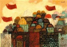 "Peace Dove Over Jerusalem - Jean David Illustration for Sașa Pană's ""the romanticised life of god"" (1932)"