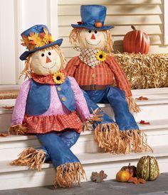 Scarecrow Couple Harvest Porch Sitters