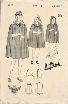 1940s Butterick 1469 Vintage Sewing Pattern Toddler Girl Cape