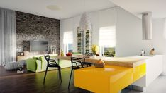 Livingroom, Yellow Wooden Table Four Modern Black Chair Lcd Tv Green Sofa Flooring Laminated Stones Wall Two Windows Silkly Curtain ~ Astonising Living Rooms with Beautiful and Modern Sofas