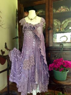 Luv Lucy Crochet Dress Lavender Fields hippy by LuvLucyArtToWear, $400.00