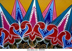 Costa Rican arts and crafts hand painted oxcart oxcarts carreta carretas in the city of Sarchi in Alajuela Province Costa Rica - Stock Image