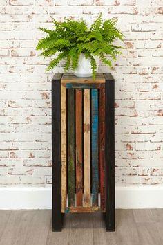 Urban Chic Tall Plant Stand Lamp Table #furniture #wood #bohemian #boho #home #interior #decor #livingroom #lounge #hallway #bedroom #brick #contemporary #urban #shabbychic #plant #table lamp