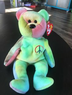 "94e5d11abdf Ty Beanie Baby Bear ""Peace"" Ultra RARE 1996 Stamped Red Star PE pellets    MINT"