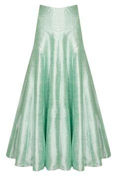 Mint green pleated lehenga by SVA. Shop now: http://www.perniaspopupshop.com/designers/sva #sva #lehenga #perniaspopupshop #shopnow