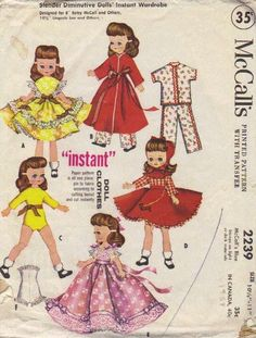 McCall's #Sewing #Pattern 1950s Doll Clothes Betsy Lingerie Lou Dress Pajamas Ball Gown Petticoat Skirt Bonnet via Etsy.