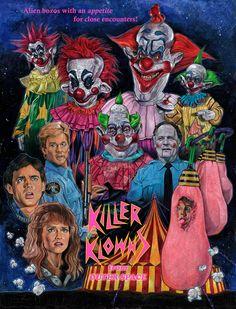 Retour sur un film d'horreur culte : Killer Klowns from Outer Space Horror Movie Posters, Horror Icons, Horror Films, John Wayne Gacy, Fan Poster, Movie Poster Art, Horror Artwork, Creepy Clown, Creepy Circus