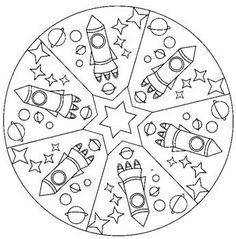 Space mandala coloring page for kids Space Coloring Pages, Mandala Coloring Pages, Coloring Sheets, Coloring Books, Space Projects, Space Crafts, Kids Crafts, Mandalas For Kids, Space Solar System