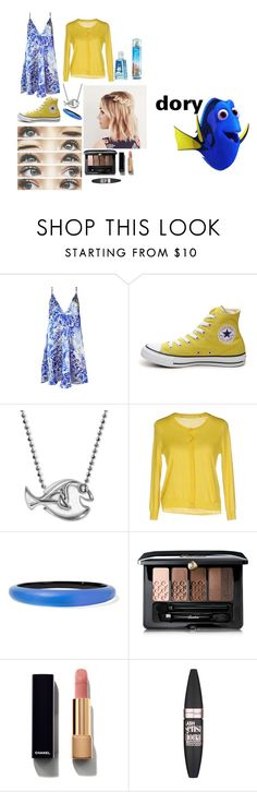 """""""Dory-Disneybound"""" by chelseafullerton ❤ liked on Polyvore featuring Plakinger, Converse, Alex Woo, Patrizia Pepe, Alexis Bittar, Guerlain, Chanel and Maybelline"""