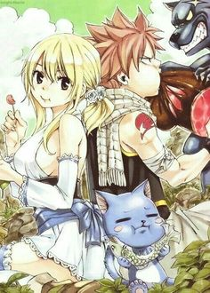 Lucy, Natsu, Happy, funny, eating, food, wolf; Fairy Tail