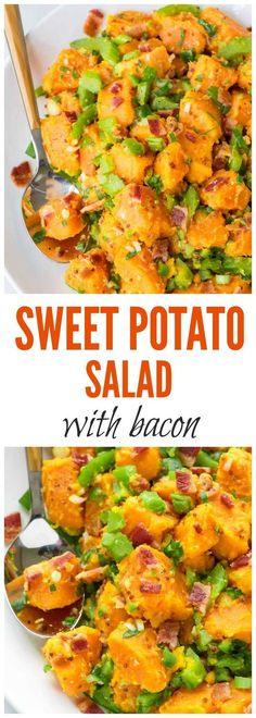 The BEST Sweet Potato Salad recipe — with bacon, crunchy veggies, and a zippy mustard dressing. Easy to make, perfect for picnics and barbecues, and I never have any leftovers! Paleo, gluten free and dairy free.