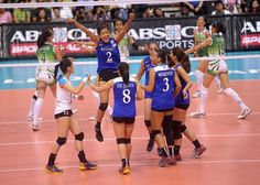 Alyssa Valdez and the Ateneo Lady Eagles celebrate a point during their UAAP Season 77 women's volleyball match on Wednesday against the De La Salle Lady Spikers. Alyssa Valdez, Volleyball Wallpaper, Women Volleyball, Number 2, News Online, Eagles, Wednesday, Basketball Court, Abs