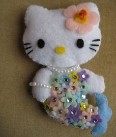 Mermaid Hello Kitty felt doll by SparklesandScraps on Etsy, $16.00