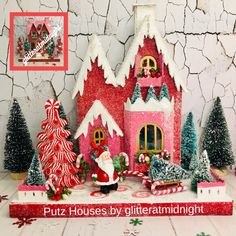 Putz Christmas House in Pink & Red with Santa and Sled carrying Tree. Christmas Runner, Little Christmas Trees, Christmas Ornaments, Battery Operated Led Lights, Ribbon Candy, Putz Houses, Glitter Houses, Winter Scenes, Sled
