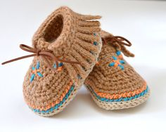 Crochet Pattern Baby Moccasin Shoes Native American Style 3 Sizes Easy Photo Tutorial Digital File Instant Download
