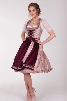 Krüger Madl Damen Midi Dirndl Trachten Kleid knielang weinrot 60cm Oktoberfest