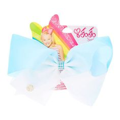 JOJO SIWA LARGE TURQUOISE & WHITE OMBRE SIGNATURE HAIR BOW READY TO POST-New In! £15.98