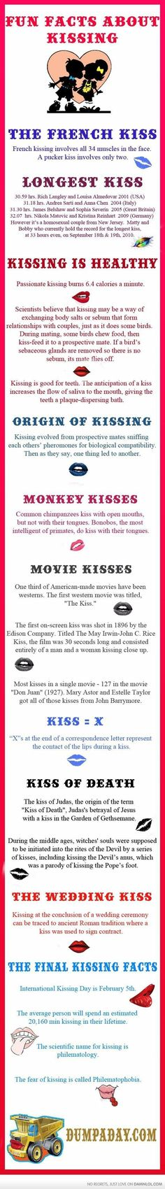 Kisses 4 Us, a beautiful custom box filled with fun, flirty and romantic kisses; trivia, tips and fun facts to enhance each kiss; ideas for holidays, gifts. The More You Know, Good To Know, Did You Know, Wtf Fun Facts, Random Facts, Random Things, Epic Facts, Kissing Facts, Movie Kisses