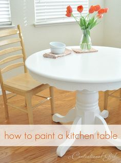how to paint a kitchen table #diy. Includes paint type and explains use of wax rather than polyurethane to seal.