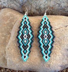 Turquoise Black and Gunmetal Southwest Peyote Beaded Earrings by DoubleACreations on Etsy