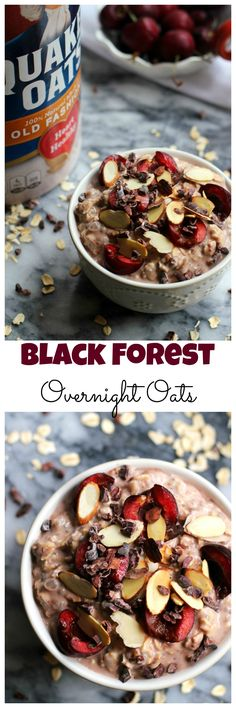 Make breakfast fun and easy with these black forest overnight oats! Prep them the night before and wake up to a bowl of delicious ready-to-go chocolate and cherry-flavored oatmeal.