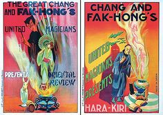 Anonymous - Spain.   Chang and Fak-Hong´s (2 Posters).   Lithograph ca. 1920.   Size: 25.1 x 17.3 in. (64 x 44 cm).   Printer: Mirabet, Valencia.   Condition Details: (A-) minimal creasing and browning in the margins, includes -Oriental Review- and -Hara-Kiri-.