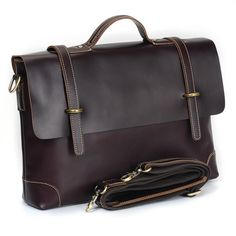 "Handmade Leather Briefcase / Messenger / 14"" Laptop 15"" MacBook Pro Bag for Gentlemen - TREASURE"